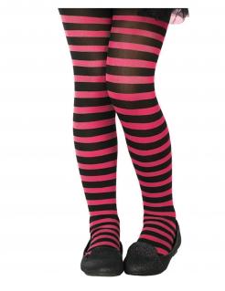 Kinder-Strumpfhose gestreift Accessoire schwarz-pink