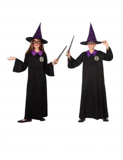 Zauberschüler-Kostüm für Kinder Halloween-Kostüm schwarz-violett