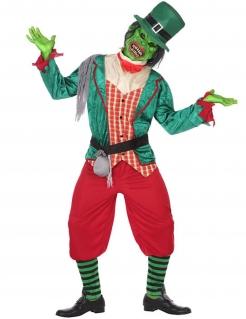 Halloween-Kobold-Kostüm für Herren Zombie-Kobold grün-rot