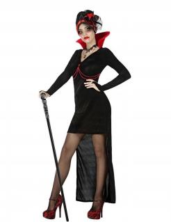 Gothic-Vampirkostüm für Damen Halloween-Kostüm schwarz-rot