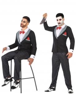 Marionetten-Kostüm für Herren Halloweenkostüm schwarz-weiss