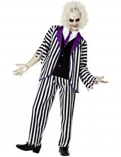 Poltergeist-Kostüm für Herren Halloween-Kostüm schwarz-weiss-violett
