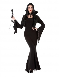 Edle Gothic-Dame Kostüm für Halloween schwarz