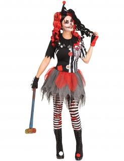 Horror-Clown-Kostüm für Damen Damen-Halloween-Kostüm weiss-schwarz-rot