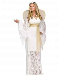 Edles Engel-Kostüm für Damen mit Spitze weiss-gold