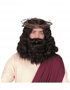 Jesus-Perücke mit Bart Kostüm-Accessoire braun