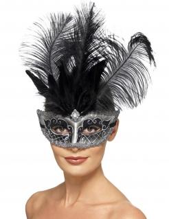 Venezianische Maske für Damen mit Federn Karnevals-Accessoire schwarz