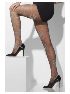 Halloween-Strumpfhose für Damen mit Spinnennetz-Muster schwarz-transparent-weiss