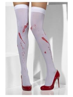 Blutflecken-Strümpfe Halloween-Accessoire weiss-rot