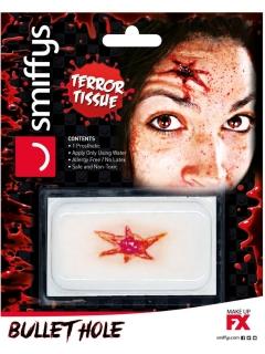 Falsche Wunde Pistolenkugel Halloween-Make-up rot