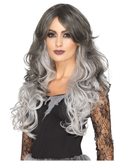 Langhaar-Perücke für Damen frisierbar Halloween-Perücke grau-weiss