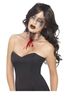 Latex-Wunde für den Hals Zombie-Wunde Halloween-Make-up hautfarben-rot