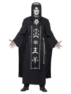 Ritual-Kostüm für Herren Hexer Halloween-Kostüm schwarz-weiss