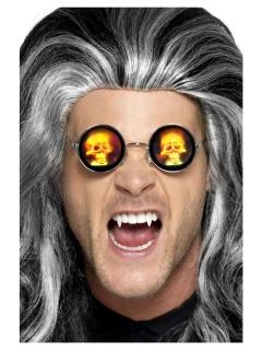 Holografische Brille Totenkopf Halloween-Accessoire braun-gelb