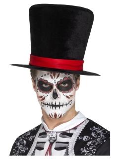 Tag der Toten Zylinder mit Hutband schwarz-rot