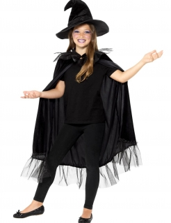 Hexen-Zubehör-Set für Kinder 2-teilig schwarz
