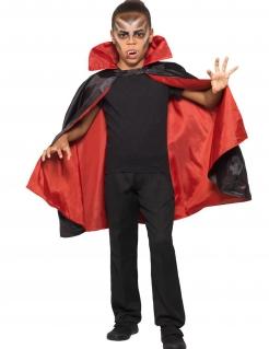 Wende-Umhang für Kinder Halloween-Accessoire rot-schwarz