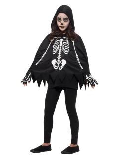 Skelett-Poncho für Kinder Skelettkostüm schwarz-weiss