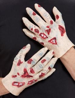 Zombie-Handschuhe für Halloween 2 Stück hautfarben-rot