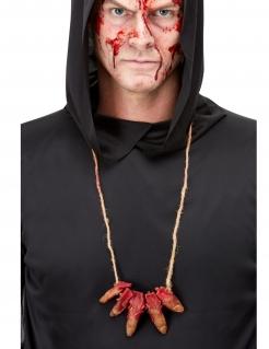Abgeschnittene Finger-Halskette Halloween-Accessoire rot-haut