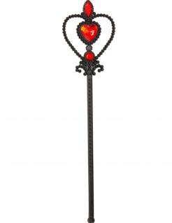 Gothic-Zauberstab für Mädchen Halloween-Accessoire schwarz-rot