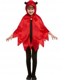 Teufel-Umhang für Kinder mit Kapuze und Schwanz Halloween-Accessoire rot-schwarz
