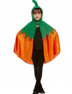 Niedlicher Kürbis-Umhang für Kinder Halloween-Cape orange-grün