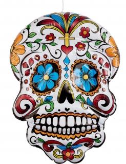 Aufblasbarer Sugar Skull zum Aufhängen Tag der Toten Deko bunt 100cm