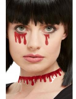 Blut-Sticker glitzernd Halloween-Make-up rot