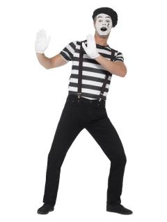 Mimen-Kostüm für Herren Halloween-Kostüm schwarz-weiss