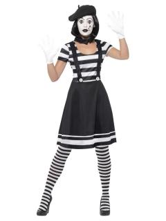 Mimen-Kostüm für Damen Faschingskostüm schwarz-weiss