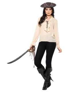 Piraten-Bluse für Damen weiss-schwarz