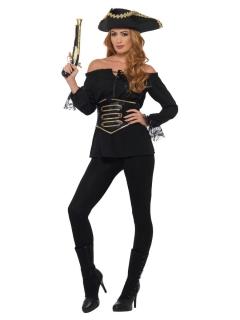 Piraten-Bluse für Damen mit Gürtel Karnevalskostüm schwarz-gold
