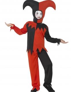 Harlekin-Kinderkostüm Halloween-Kostüm schwarz-rot