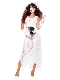 Blutige Braut Halloween-Kostüm für Damen weiss-rot