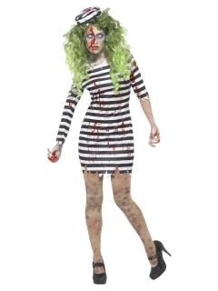 Zombie-Sträfling Halloween-Kostüm für Damen weiss-schwarz