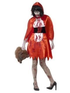 Untotes Rotkäppchen Zombie-Märchen-Kostüm rot-weiss