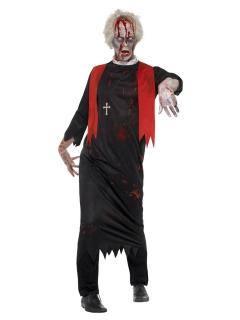 Zombie-Priester-Kostüm für Herren Halloween-Kostüm schwarz-rot