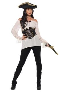 Piratenbluse für Damen mit Gürtel Karnevalskostüm weiss
