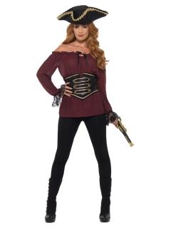 Piratenbluse für Damen mit Gürtel Karnevalskostüm bordeauxrot