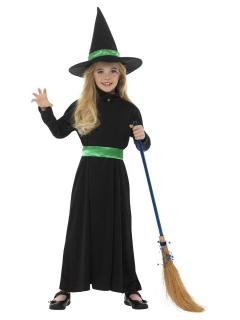 Hexen-Kostüm für Mädchen Halloween-Kostüm schwarz-grün