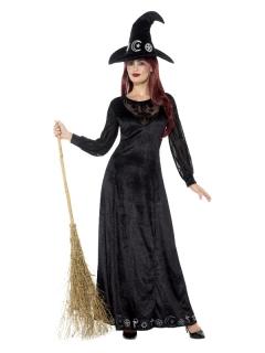 Schickes Hexen-Kostüm für Damen Halloween-Kostüm schwarz