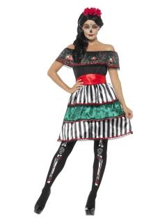 Tag-der-Toten-Kleid für Damen mit Carmen-Ausschnitt bunt