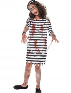 Zombie-Gefangenenkostüm für Mädchen Halloween-Kostüm schwarz-weiss