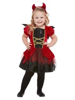 Niedliches Teufel-Mädchenkostüm Halloween-Kostüm schwarz-rot