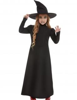 Dunkles Hexen-Kostüm für Kinder Halloween-Kostüm schwarz
