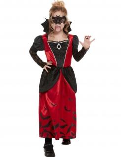 Vampir-Kostüm für Mädchen mit Maske Halloween-Kostüm schwarz-rot