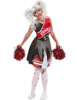 Zombie-Cheerleaderin-Damenkostüm Halloween-Kostüm schwarz-rot
