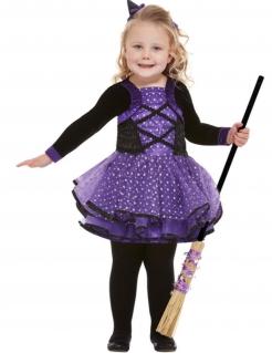 Hexenkostüm für Kleinkinder Halloween-Kostüm schwarz-lila