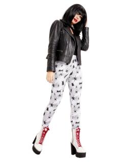 Spinnen-Leggings für Damen Halloween-Leggins weiss-schwarz